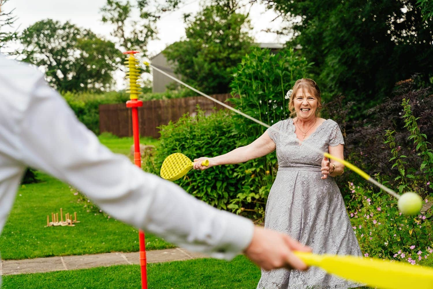 playing lawn games at The Old Stables Wedding