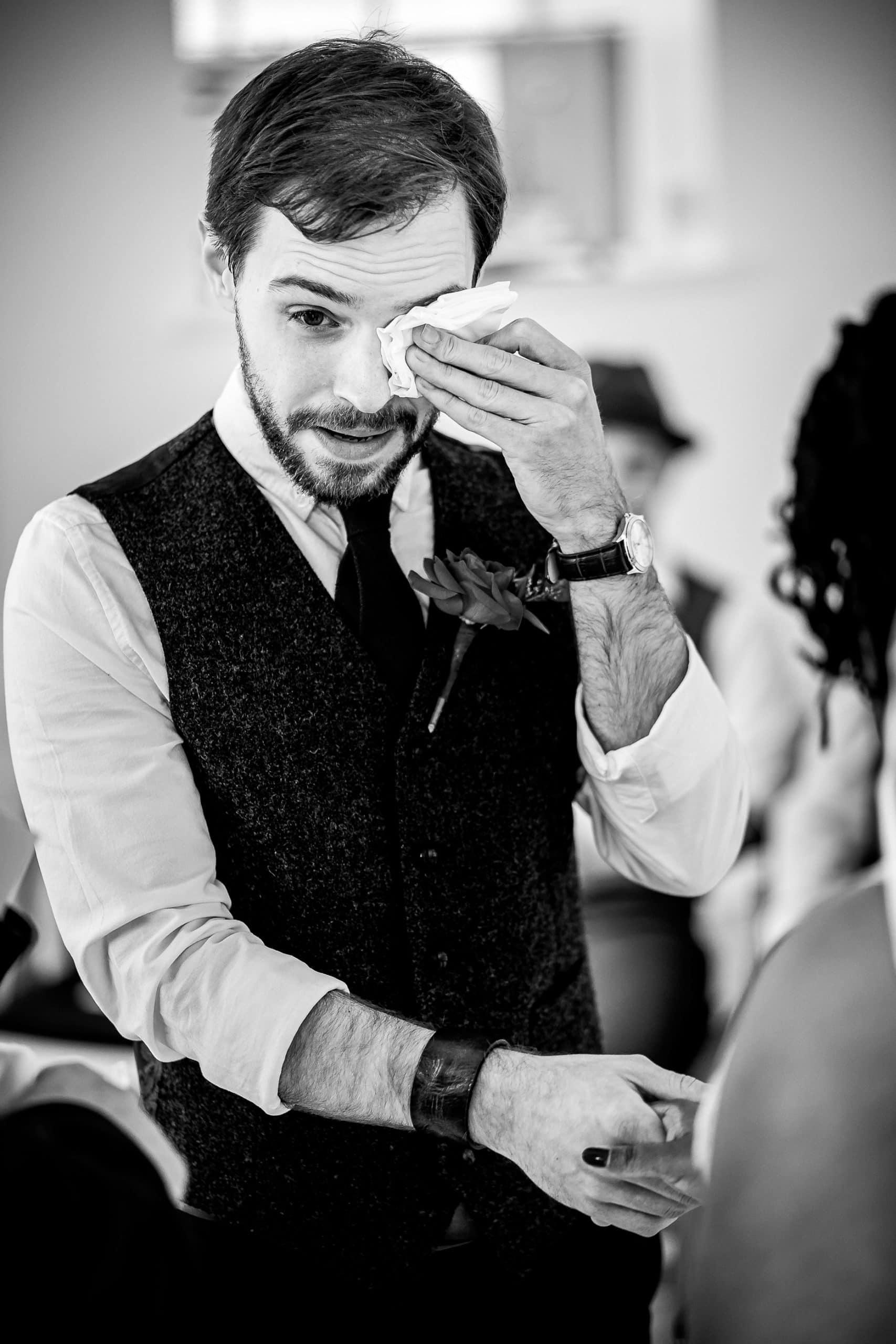 Groom crying Nant Gwrtheyrn Wedding Photographer