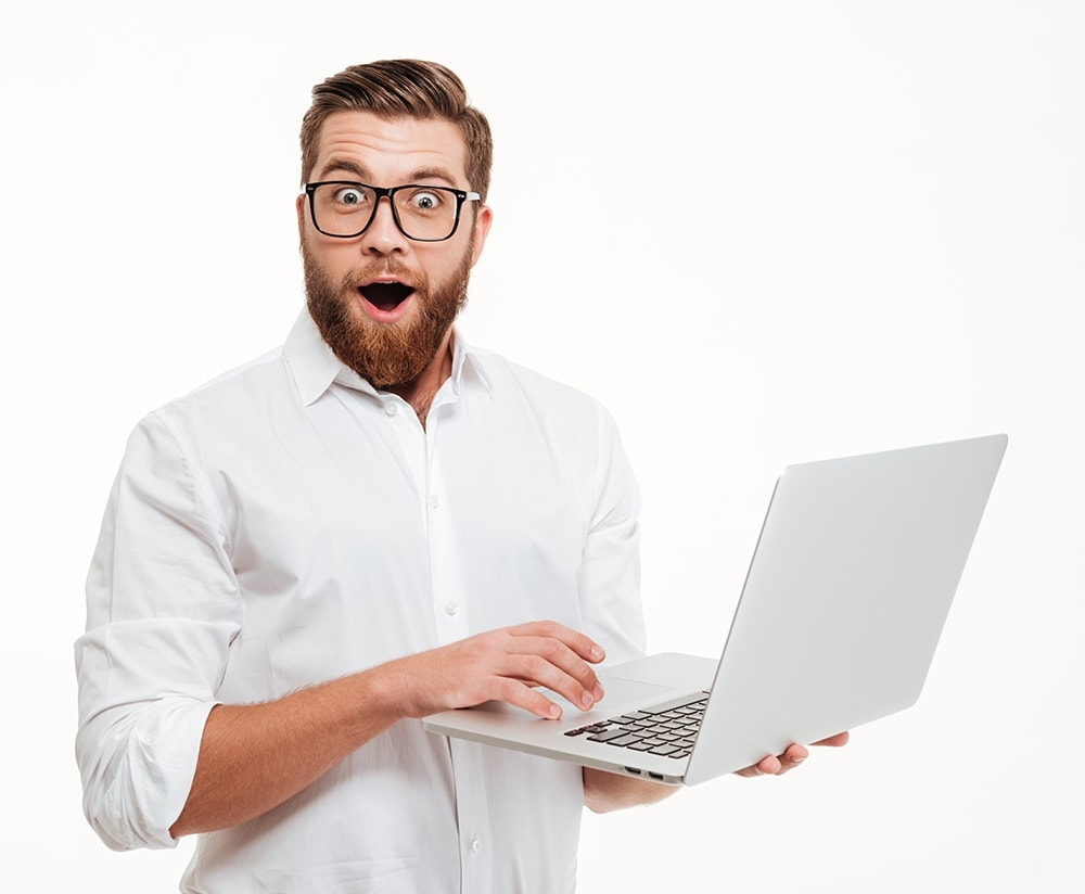 excited man laptop