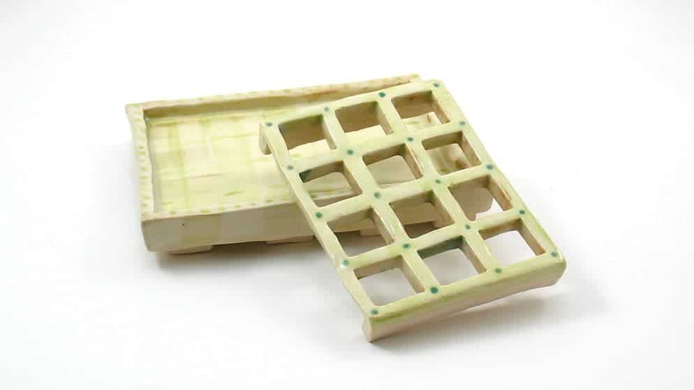 Green Soap Dish with Dots