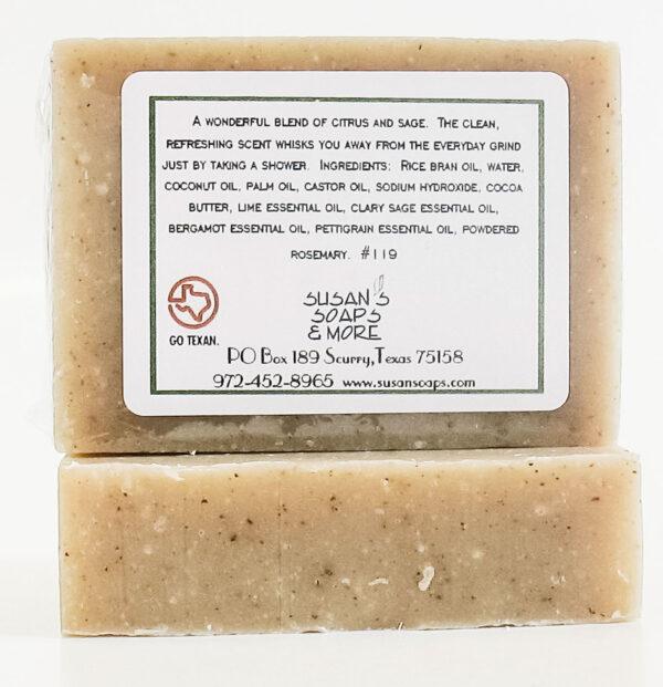 Lime & Sage Natural Soap Bar Back Label