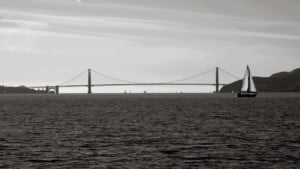 Black and White Picture of Golden Gate Bridge in SF