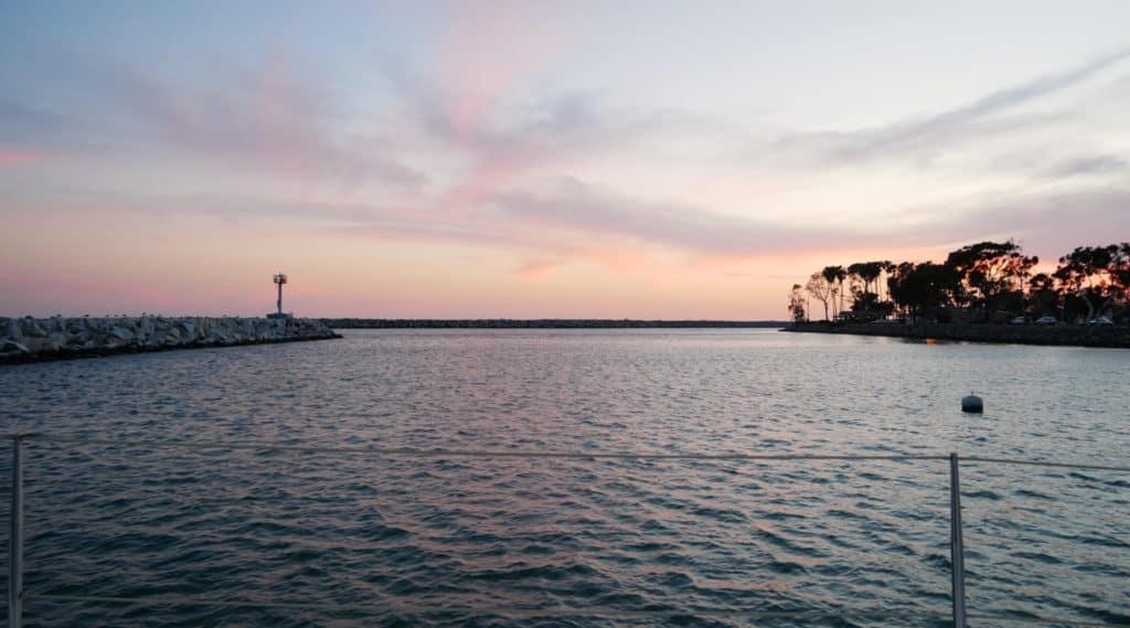 Dana Point, California anchorage at sunset