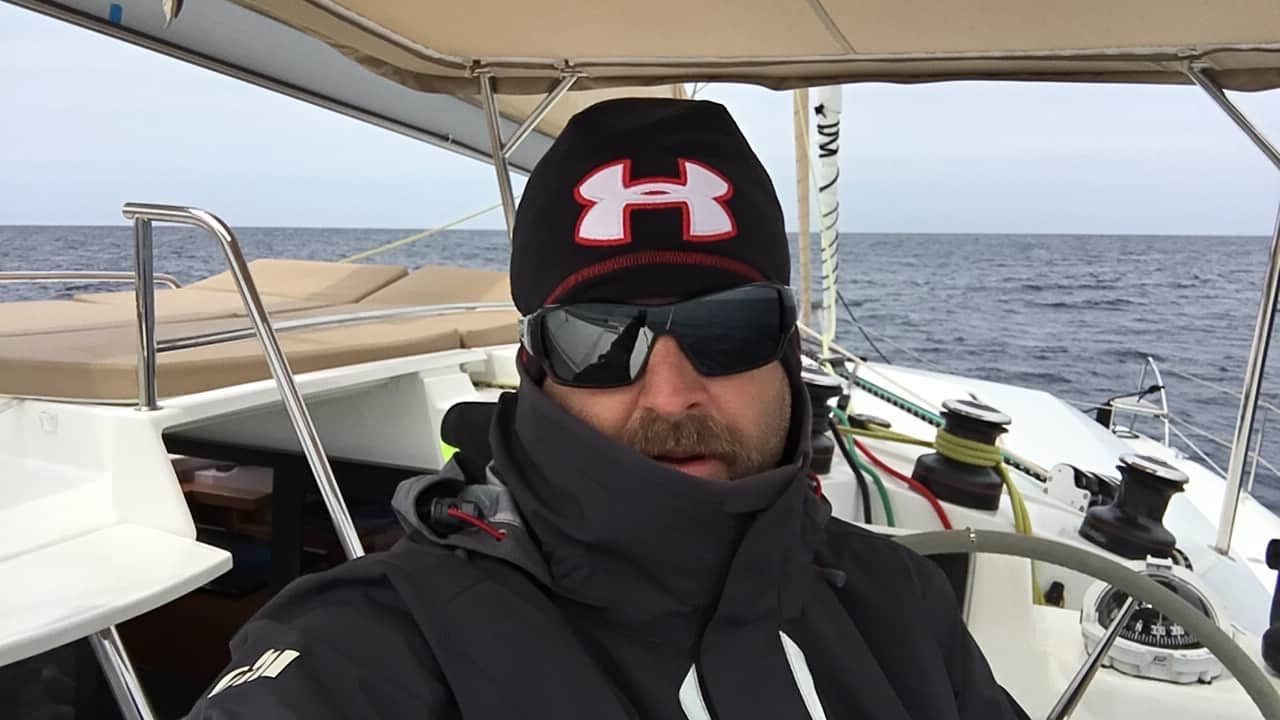 Matt at the helm looking cold