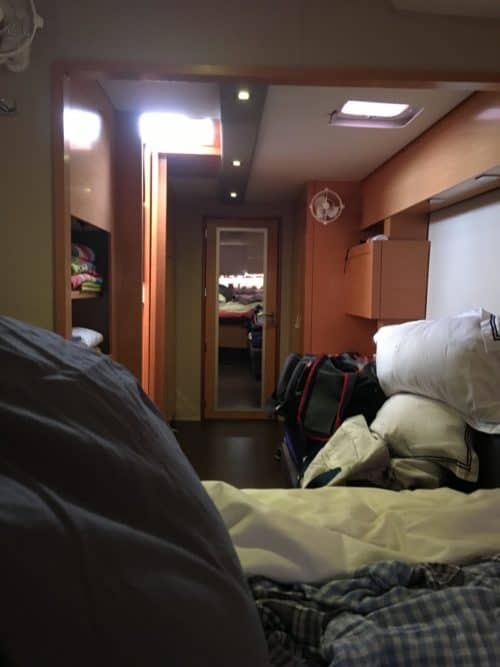 View from bed in bedroom on Fountaine Pajot Helia 44