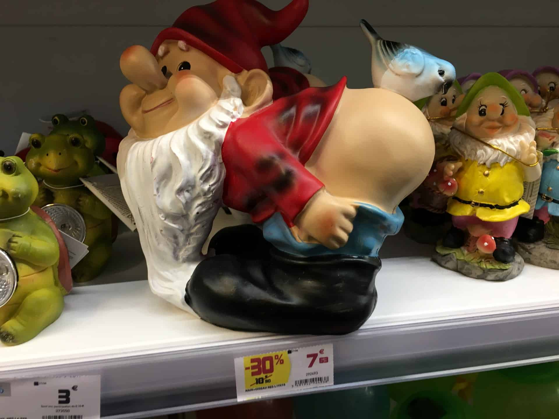 Gnome with butt bird