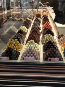 Display of stacks of candy in a candy shop in France