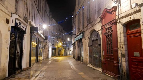 The streets at night in La Rochelle