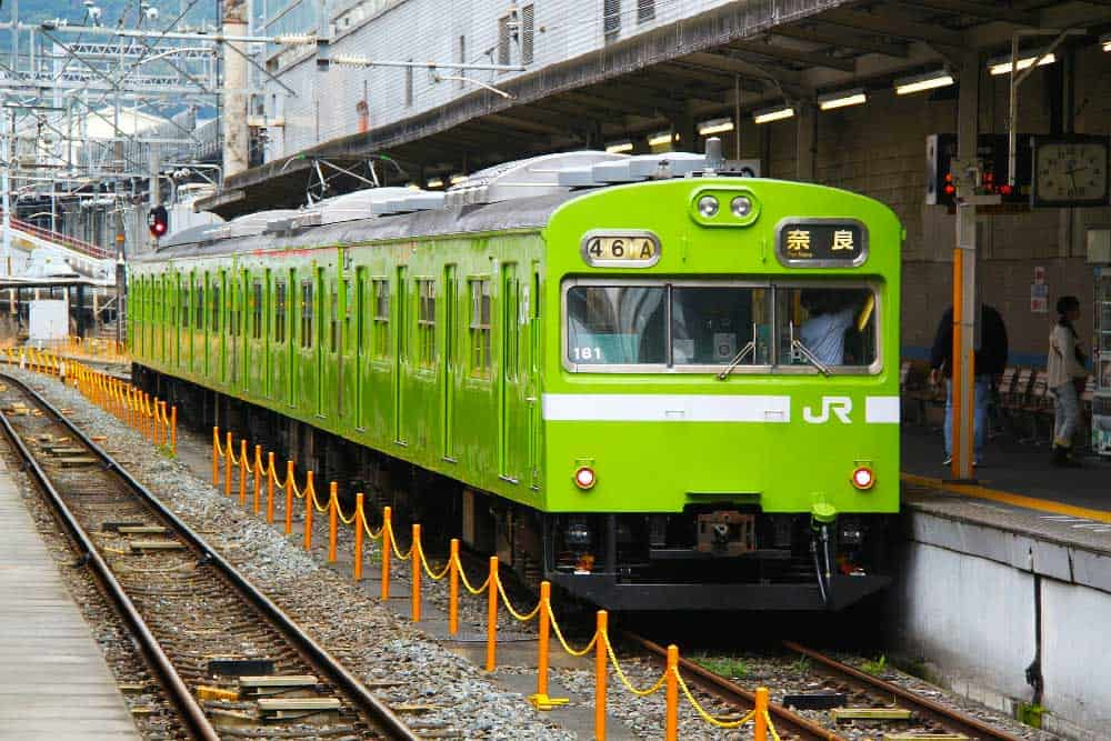 Green JR Train in Nara, Japan