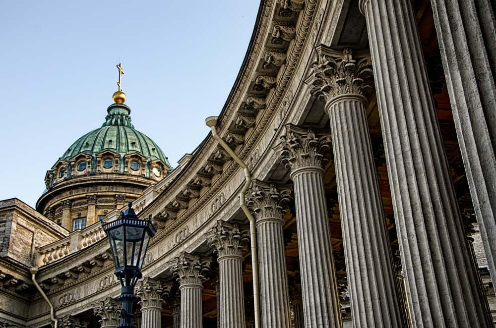 Colonnade at Kazan Cathedral in St Petersburg, Russia