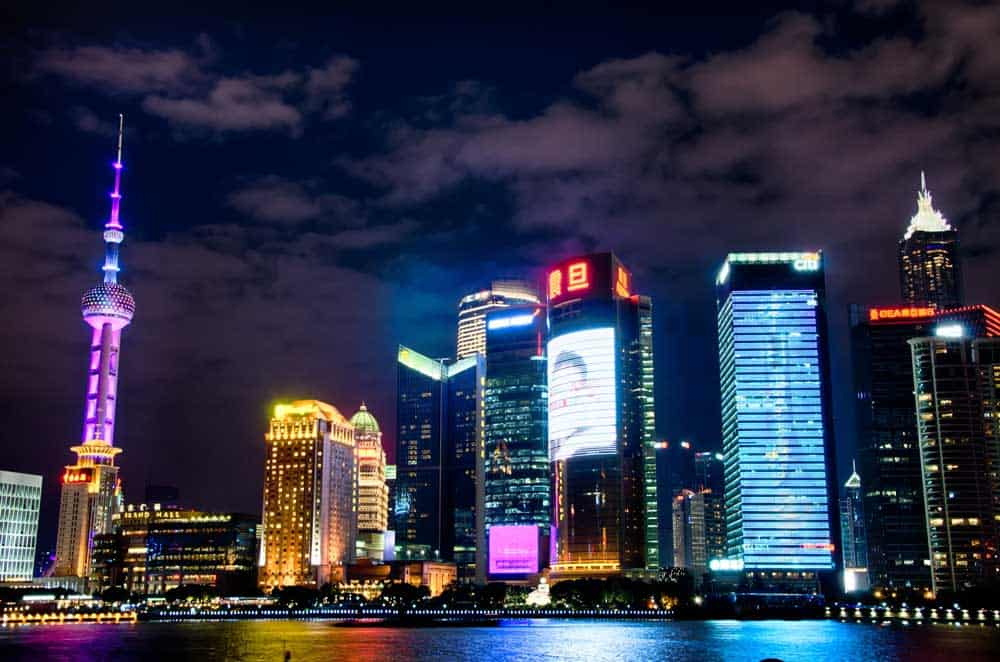 Pudung Skyline at Night in Shanghai