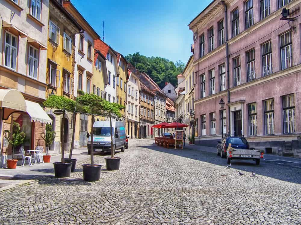 Quiet Street in Old Town Ljubljana, Slovenia