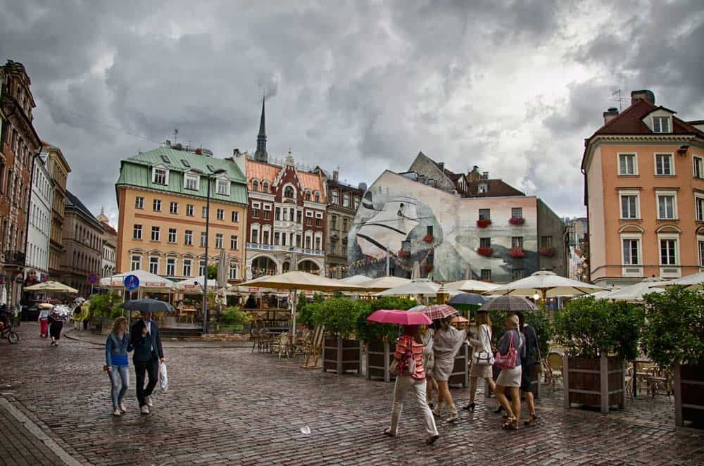 Rainy Square in Riga, Latvia