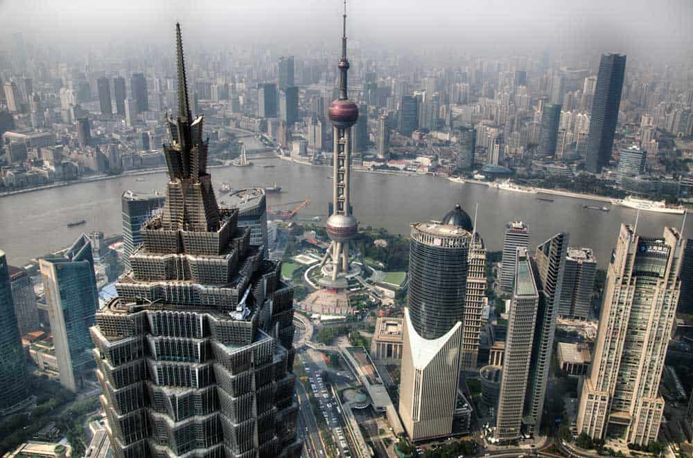 Skyline from Shanghai World Financial Center in Shanghai, China