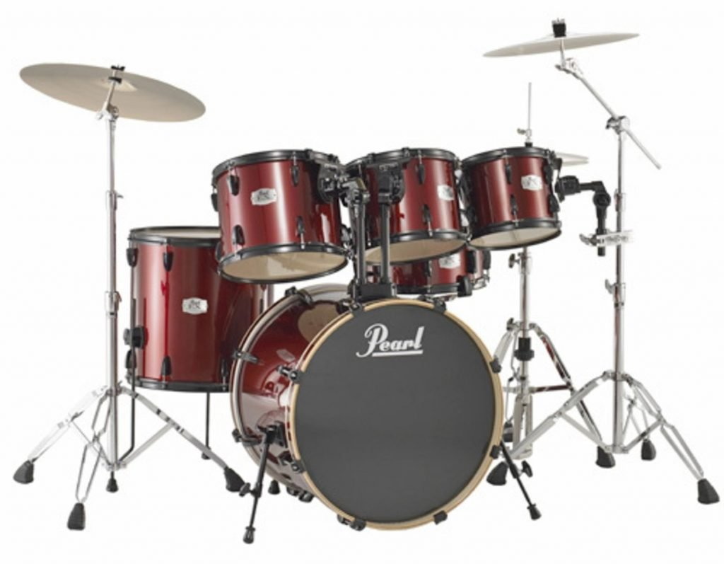 Pearl Export Series red with cymbals