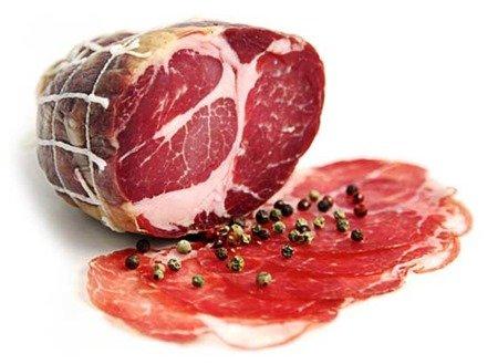 coppa: A popular type of cured meat eaten in France: charcuterie board meat