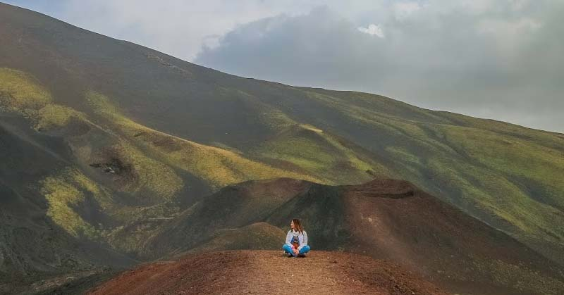 Lonely and isolated at mount Etna Volcano in Sicily