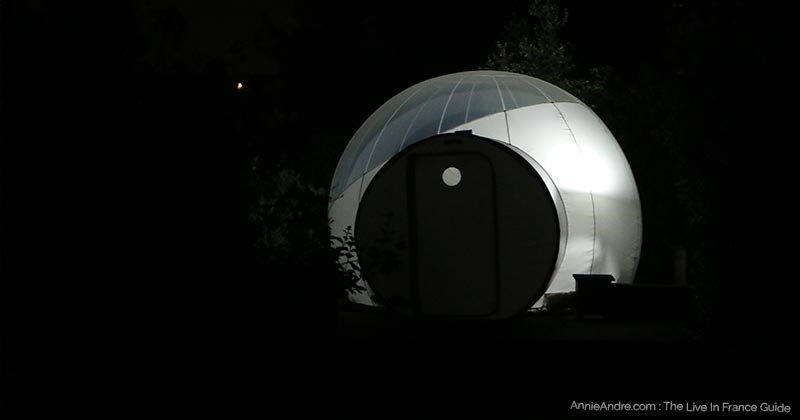 Our bubble room at nigh from the outside.