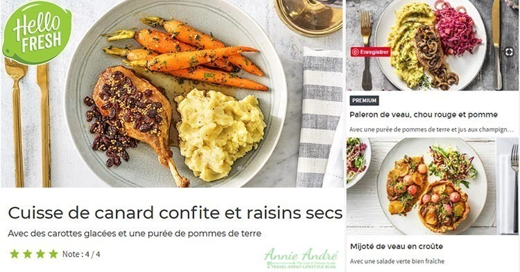 Recipe card for one of HelloFresh France Meal kits