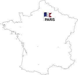 France map with Paris capital flag