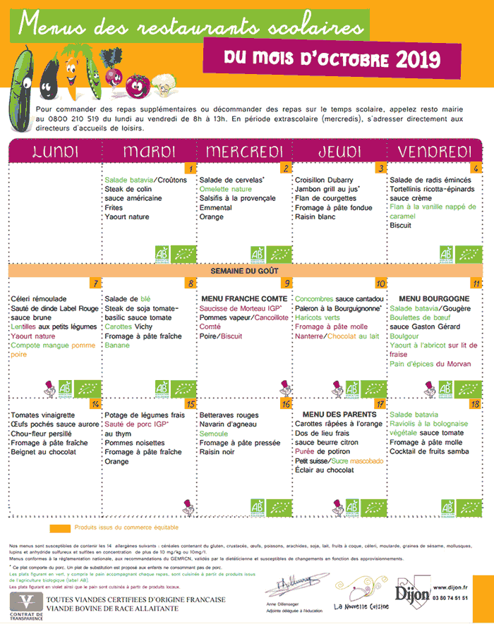 An actual school menu for public schools in Dijon France from October 2019