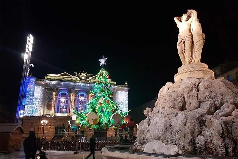 Place de la Comédie during December Christmas time.