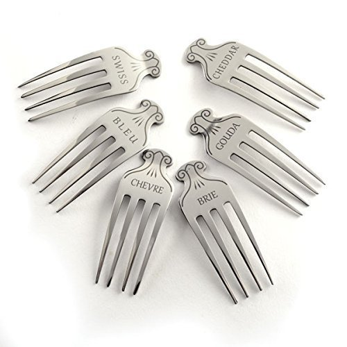 Cheese Marker Fork Set (6) with cheese names engraved