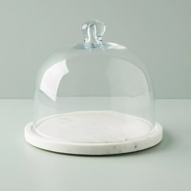 Marble Cheese Cloche (Glass Cheese Dome with Marble Base)