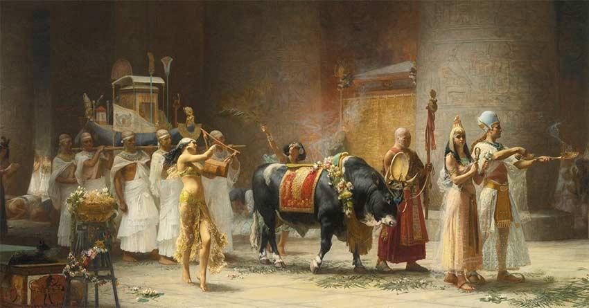 Navigium-Isidis-The Procession Of The Bull Apis Frederick Arthur Bridgman 1879
