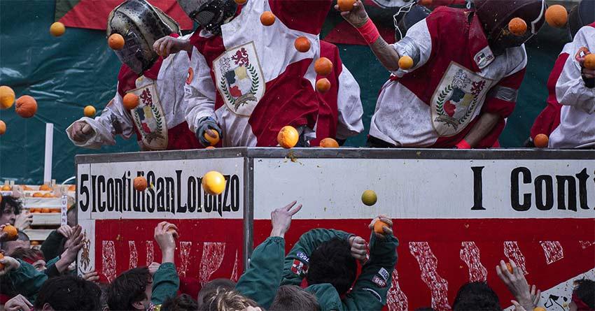 Ivrea Italy Carnaval Battle of the oranges