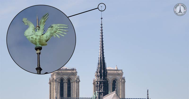 Gallic Rooster on the spire of the Notre dame church in Paris