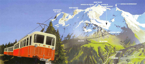 French alps tram on Mont Blanc