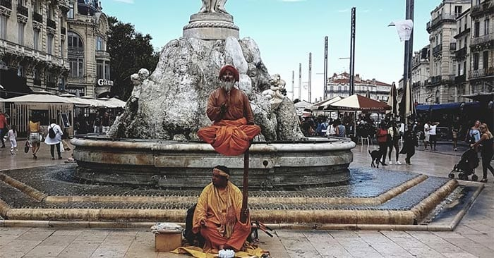 Human statue street performer in Montpellier France