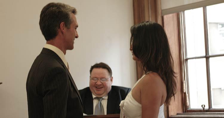 Annie and Blake in Edinburgh Scotland getting married