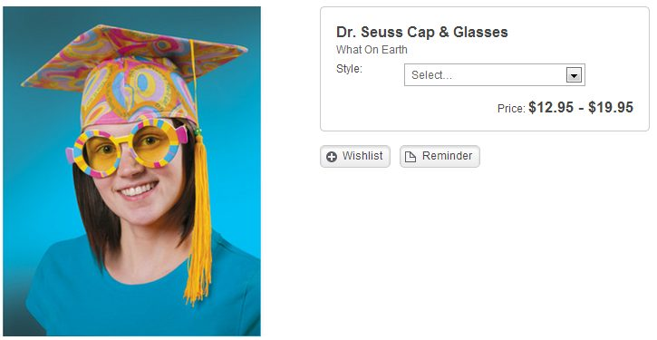 stupid skymall products. dr seus cap and gown