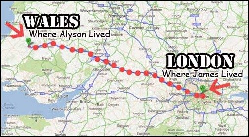 She was from Wales, He was living in London. over 400 KM away
