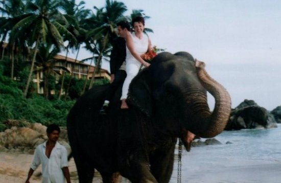 Alyson and james on an elephant at their wedding in Sri Lanka