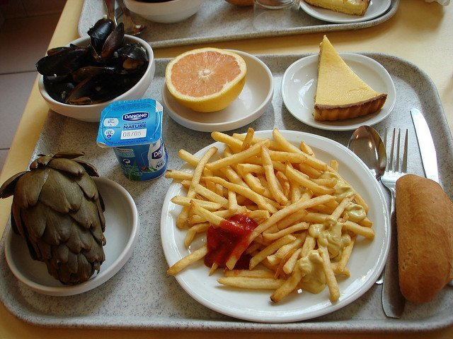 Moules et frites lunch in France Mussels and fries