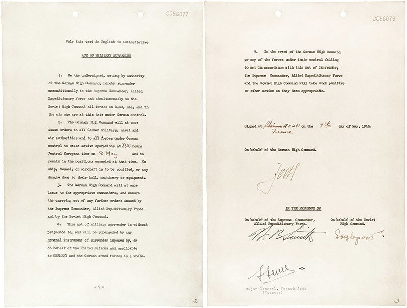 Document signed by the germans to surrendor on May 7th 1945 in Reims France to take effect on the 8th of May