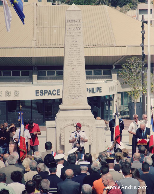 victory in Europe day in La Garde France small gathering at a war memorial near our house.