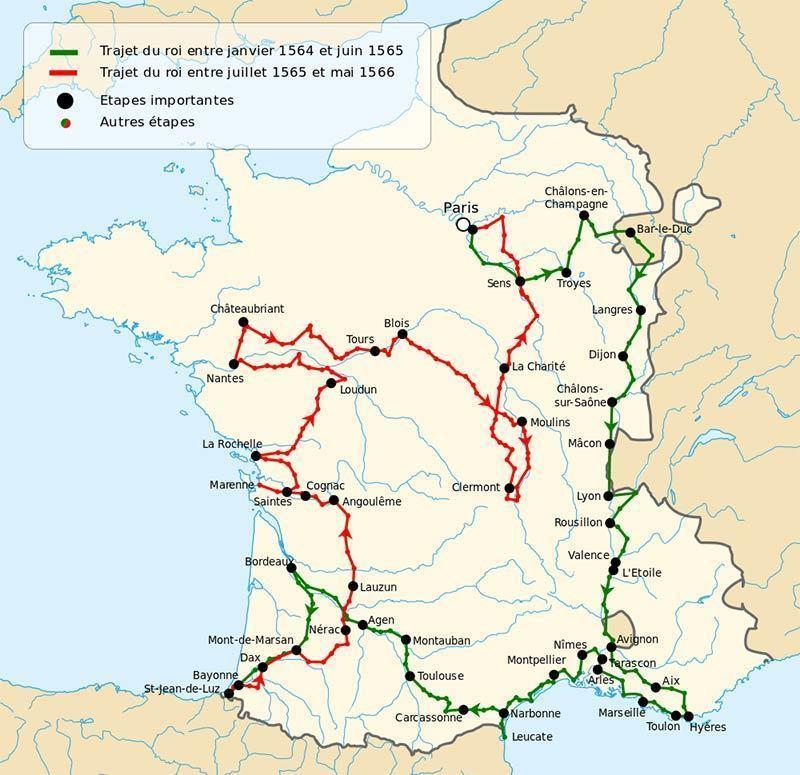 Map of the Grand tour around French kindgom: Charles IX