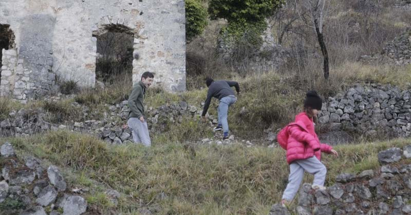 Kids being curious and a run down castle in France