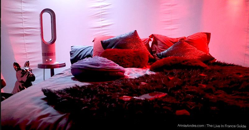 Night lighting in the bubble room at attrap reves in Marseille France