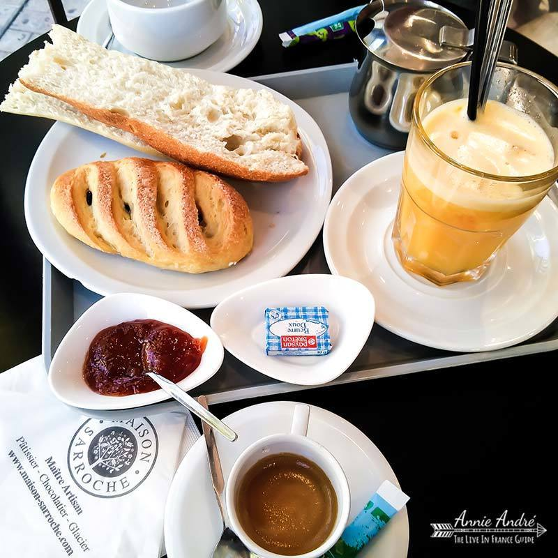 French people don't eat eggs, pancakes or bacon for breakfast. Think continental instead
