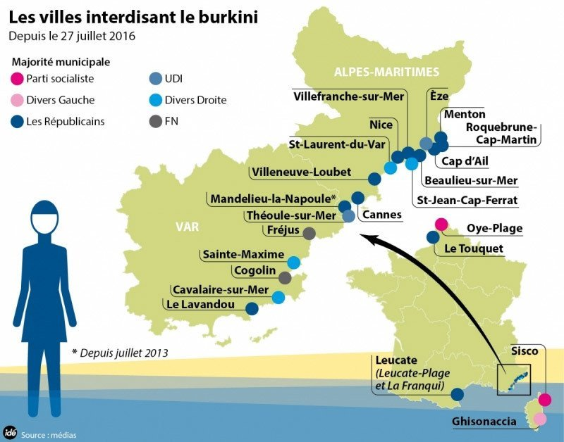 French law: Map showing some places in France where the Burkini is banned in France