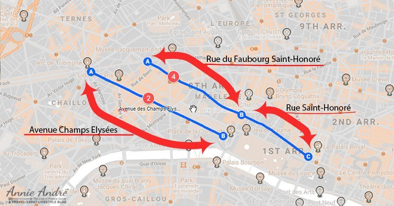 rue-du-faubourg-saint-honore-map of shopping streets