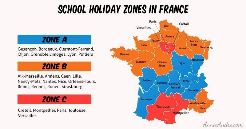French school holiday zones in France