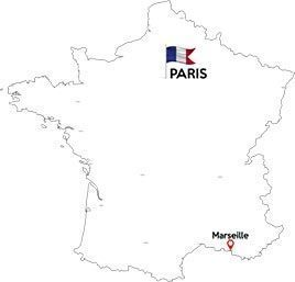 Paris to Marseille map outline