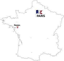 Paris to Nantes map outline