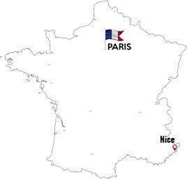 Paris to Nice map outline